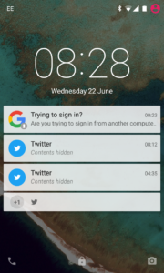 Google 2FA prompt on Android lock screen