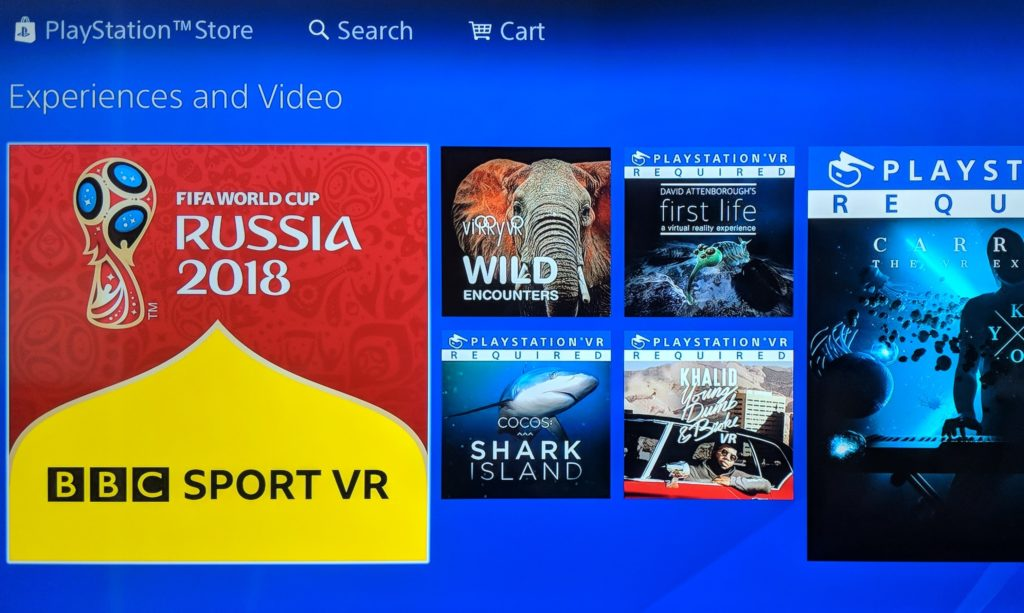 The Playstation store menu system with BBC Sport VR link shown