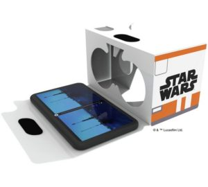 A Google Cardboard headset branded with Star Wars